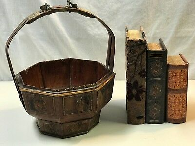 Antique Chinese Wooden Wedding Basket hand painted with Authentic SEALl (No Lid)