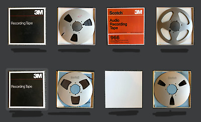 """Scotch 10.5"""" Reel with 1/4"""" Magnetic Recording Tape with Storage Box Lot of 4"""