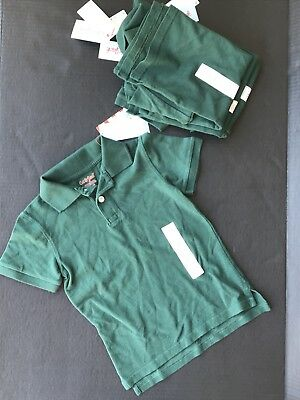 Green Uniform Shirts Size XS(4/5) Set Of 4 Collared Short Sleeve NEW w/tags -A6