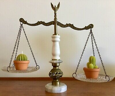 VINTAGE Retro MARBLE & BRASS Decorative SCALES OF JUSTICE Crystal ITALY