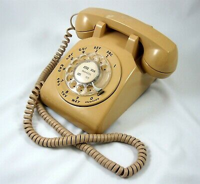 Bell System Beige Desk Phone Vintage Telephone Rotary Dial Western Electric