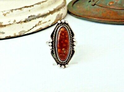 Old Navajo Sterling Silver Fire Opal Agate Native American Size 8 Band Ring