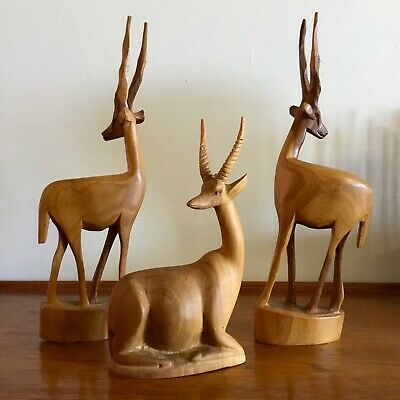 3x Hand Carved WOODEN GAZELLES Retro MID-CENTURY DISPLAY