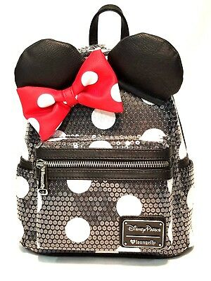 Disney Parks Minnie Mouse Loungefly mini backpack black sequin bow ears new