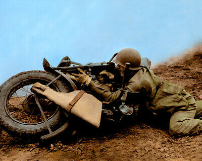 """WWII SOLDIER HARLEY DAVIDSON MOTORCYCLE 1943 8x10"""" HAND COLOR TINTED PHOTO"""