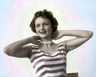 "BETTY WHITE HOLLYWOOD ACTRESS & MOVIE STAR 8x10"" HAND COLOR TINTED PHOTOGRAPH"