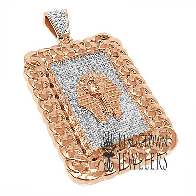 Miami Cuban Frame Pendant Real Diamonds Egyptian Pharaoh King Tut Rose Gold Tone