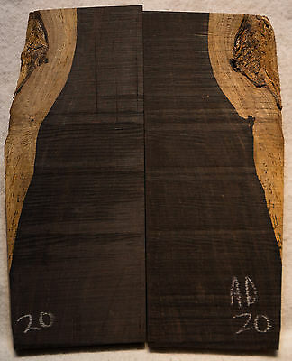 """African Blackwood #20 Knife Scales 5-5.2""""x1.6-2.2""""x3/8"""""""