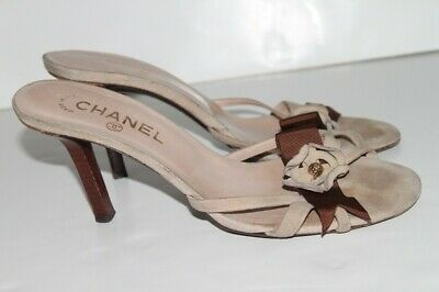 3bf2635e8834  925 CHANEL MULES Suede Beige Sandals Heels Slip On Shoes Size 40 ...