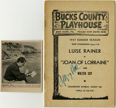 Gregory Peck Rare Signed Bucks County Playhouse Playbill Luise Rainer Summer1947