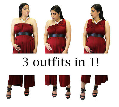 Burgundy Maternity Jumpsuit Solid 3 Outfits in ONE Pregnancy Dress Capri Romper