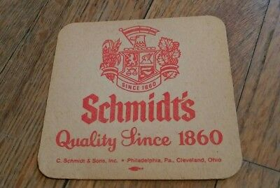 Schmidt's Philadelphia Beer Drink Coaster Quality Since 1860 Bier Bar Pub old