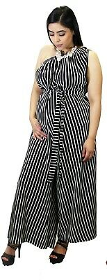Stripped Maternity Jumpsuit Pregnancy Dress Capri Romper Fashionable POCKETS
