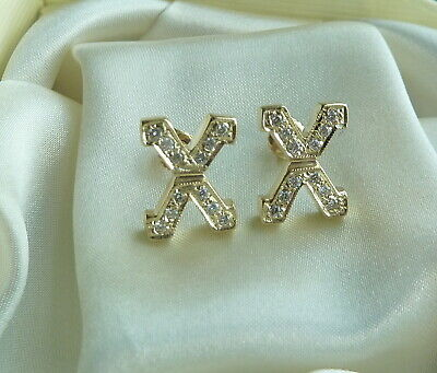 14K Yellow Gold X Style Diamond Earrings 0.36 Tcw