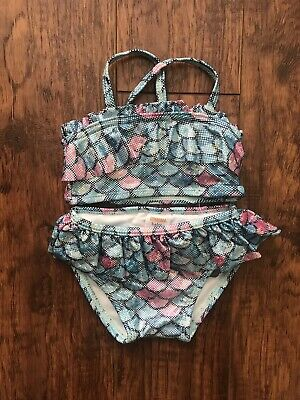 Gymboree Baby Girl Two Piece Mermaid Turquoise Shimmer Swimsuit 0-3 Months NWT