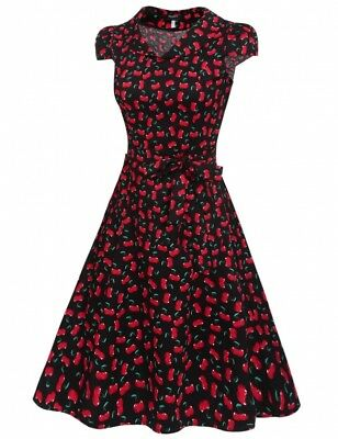 """SALE """"Betsy"""" Stunning Black Red Cherry Size 8 Rockabilly Peter Pan Swing Dress"""