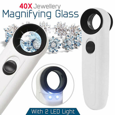 Handheld 40X 2 LED Light Magnifier Reading Magnifying Glass Jewelry Loupe Tools