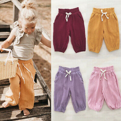 AU Toddler Baby Kids Girls Foam Cotton Wrinkled Bloomers Trousers Leggings Pants