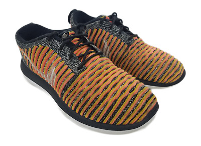 reputable site 153b6 1dffd Nike Roshe Two 2 Flyknit Womens Size 8 Mango Black White Running Shoe 844929 -005
