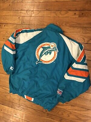 best deals on 91e9b d3054 MIAMI DOLPHINS JACKET Large Mens Vintage Starter Coat Full Zip 90s NFL