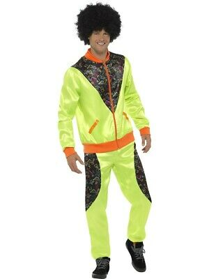 Mens Retro 80's Fashion Scouser Tracksuit Shell Suit Neon Costume