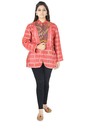 Vintage Kantha Women Jacket Handmade Cotton Quilted Outwear Rally Coat