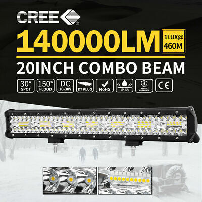 20inch CREE LED Light Bar Triple Row Spot Flood Combo Work Driving 12V 24V WD
