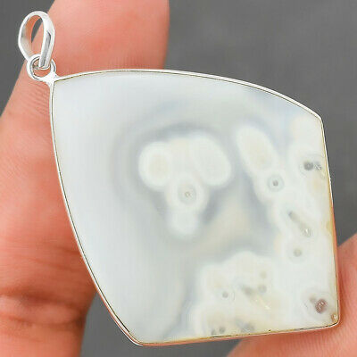 13g White Moss Agate 925 Sterling Silver Pendant Jewelry SDP24133