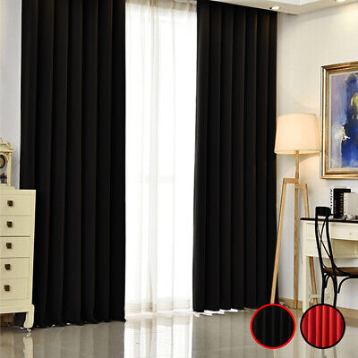 1/2Pcs Thermal Blackout Curtains Made Eyelet Ring Top Pencil Pleat+Tie Backs