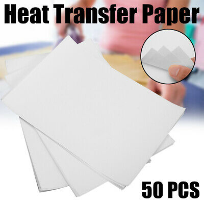 50Pcs T-shirt A4 Heat Transfer On Paper Press For Light Cotton Inkjet Printer UK