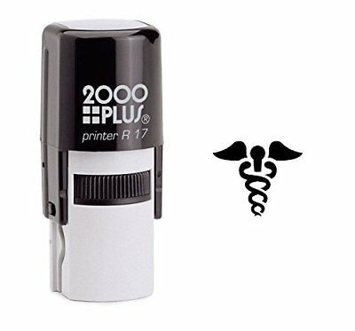 Caduceus Medicine Symbol Shell Self Inking Rubber Stamp - Black Ink (E-6131)