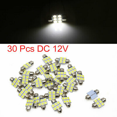 30pcs White 31mm 5050 SMD 6 LED Car Lights Festoon Interior Dome Map Lamp Bulb