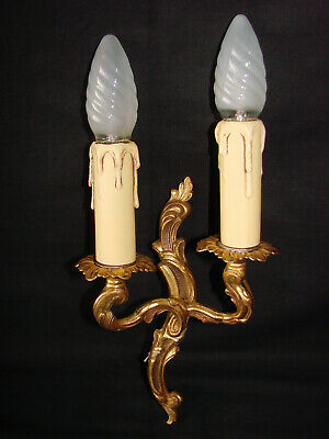 French antique bronze louis xv style candle wall sconce (n°3)