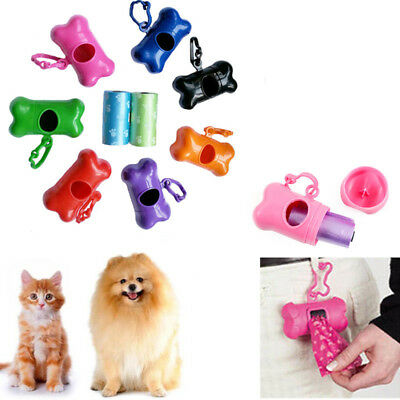 Pet Garbage Clean Waste Poo Bag Carrier Dog Bone Shape Dispenser Box Holder Case