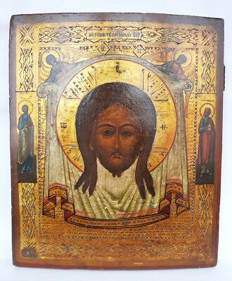Antique 19th C Russian Hand Painted on Silver Wooden Icon of the Holy Face