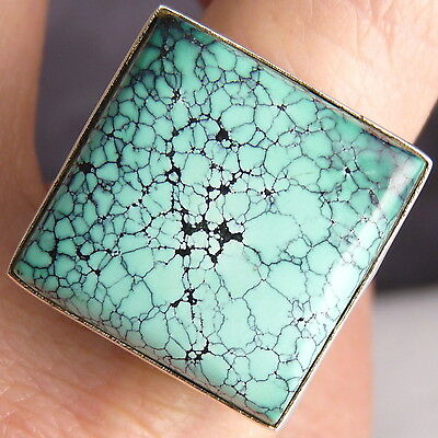 Contemporary SILVERSARI Ring Size US 9 Solid 925 Stg Silver + NATURAL TURQUOISE