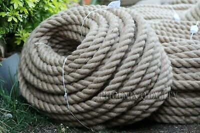 40mm Thick Natural Jute Hessian Rope Twine Braided Twisted Decking Boat Garden
