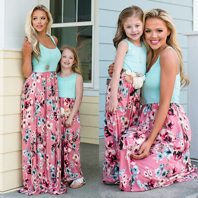 57dbeba41627d MOTHER DAUGHTER FAMILY Matching Dress Mommy and Me Floral Maxi Dresses  Outfit US