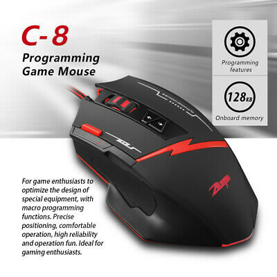 fa89a84342a Zelotes C-8 Programmable 8 Buttons LED Optical USB Gaming Mouse Maus 2500  DPI