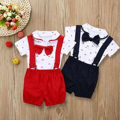 2PCS Baby Infant Boys Child Party Bow Collar Romper + Bib pants Set Outfits