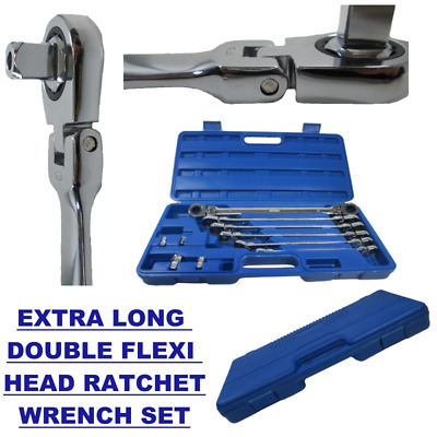 10pc Extra Long Double Flexible Head Ratchet Wrench / Spanner Set  Bergen 1897