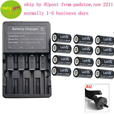 12x CR123A 16340 Rechargeable Battery + Charger for FlashLight  16340 battery AU