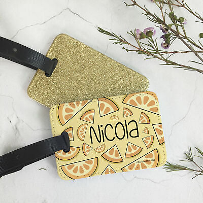 Custom Personalised PU Leather Glitter Luggage Tag and Strap Citrus Fruit Theme