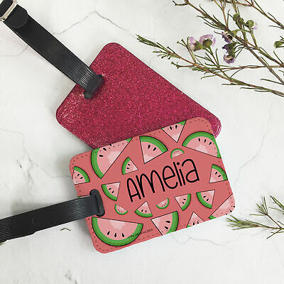 Custom Personalised PU Leather Glitter Luggage Tag and Strap Melon Fruit Theme