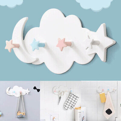 1PC Cute Cloud and Moon Wall-mounted Hooks DIY Hanger Wall Decoration