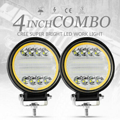 2x 4inch LED Round Work Light 2 Colors Spot Flood Driving Fog Lamp Offroad SUV
