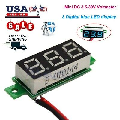DC 3.5-30V Voltmeter LED Panel 3-Digital Voltage Meter 2-wire For car