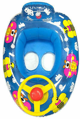 Baby Boy Inflatable Swim Swimming Seat Boat Ring Steering Wheel Car BLUE BEE