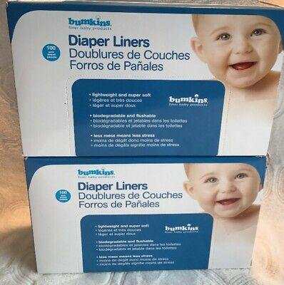 New Two (100) Pack Bumkins Flushable Biodegradable Baby Cloth Diaper Liners