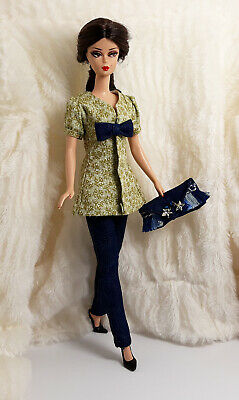 031f01e50913 Handmade Green Flower Jeans Outfit Dress & Bag For Silkstone Model Muse Doll